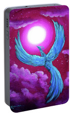 Turquoise Moon Phoenix Portable Battery Charger by Laura Iverson