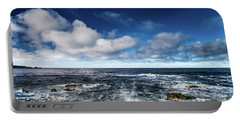 Portable Battery Charger featuring the photograph Turquoise Pacific Ocean Sea Water Rolling Waves And Rock With Bl by Jingjits Photography