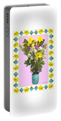 Portable Battery Charger featuring the digital art Turquoise Vase With Spring Bouquet by Lise Winne