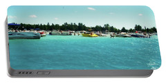 Turquoise Waters At The Torch Lake Sandbar Portable Battery Charger