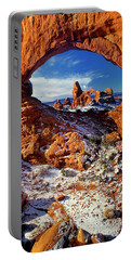 Portable Battery Charger featuring the photograph Turret Arch Through North Window Arches National Park Utah by Dave Welling