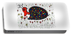 Snurtle Snail Turtle And Flowers Portable Battery Charger by Susan Dimitrakopoulos