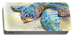 Portable Battery Charger featuring the painting Turtle At Poipu Beach 4 by Marionette Taboniar