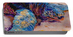 Portable Battery Charger featuring the painting Turtle At Poipu Beach 6 by Marionette Taboniar
