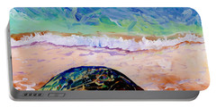 Portable Battery Charger featuring the painting Turtle At Poipu Beach 9 by Marionette Taboniar