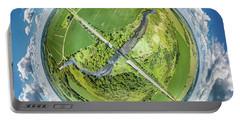 Portable Battery Charger featuring the photograph Turtle Creek Railroad Bridge Little Planet by Randy Scherkenbach