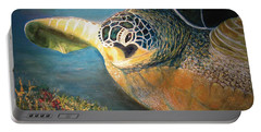 Portable Battery Charger featuring the painting Turtle Run by Karen Zuk Rosenblatt