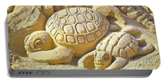 Turtle Sand Castle Sculpture On The Beach 999 Portable Battery Charger