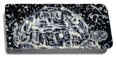 Portable Battery Charger featuring the painting Turtle Walking Under A Starry Sky by Fabrizio Cassetta