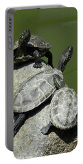 Turtles At A Temple In Narita, Japan Portable Battery Charger by Breck Bartholomew