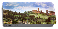 Tuscan Fields And Old Castle In Florence Portable Battery Charger