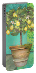 Tuscan Lemon Topiary - Damask Pattern 1 Portable Battery Charger