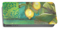 Tuscan Lemon Tree - Damask Pattern 2 Portable Battery Charger by Audrey Jeanne Roberts