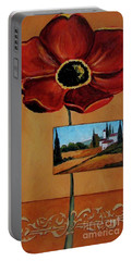 Tuscan Poppy Postcard Portable Battery Charger