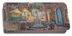 Beautiful Tuscan Villa Flower Garden Fountain Painting Portable Battery Charger