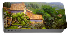 Portable Battery Charger featuring the painting Tuscan Village Memories by Chris Hobel