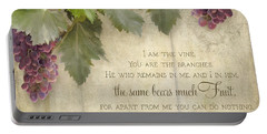 Tuscan Vineyard - Rustic Wood Fence Scripture Portable Battery Charger