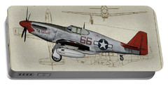 Tuskegee P-51b By Request - Profile Art Portable Battery Charger