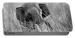 Tusker In The Grass Portable Battery Charger by Pravine Chester