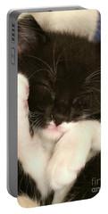 Tuxedo Kitten Snoozing Portable Battery Charger