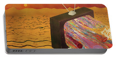 Portable Battery Charger featuring the painting Tv Wasteland by Thomas Blood