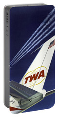 Twa Star Stream Jet - Minimalist Vintage Advertising Poster Portable Battery Charger