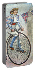 Tweed Run Lady In Blue On Penny Farthing  Portable Battery Charger by Mark Jones
