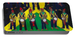 Portable Battery Charger featuring the painting Twelve Drummers Drumming by Denise Weaver Ross