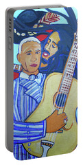 Portable Battery Charger featuring the painting Twelve Strings by Denise Weaver Ross