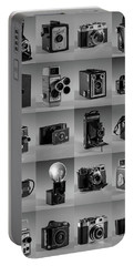 Twenty Old Cameras - Black And White Portable Battery Charger by Art Whitton
