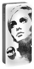 Twiggy Bw Portrait Portable Battery Charger by Mihaela Pater