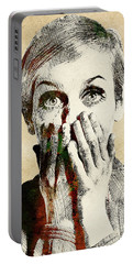 Twiggy Surprised Portable Battery Charger by Mihaela Pater