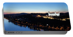 Twilight At Danube River In Bratislava City Portable Battery Charger