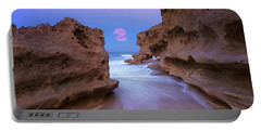 Twilight Moon Rising Over Hutchinson Island Beach Rocks Portable Battery Charger