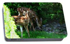 Portable Battery Charger featuring the photograph Twin Fawns by Katie Wing Vigil