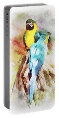 Twin Parrots Portable Battery Charger by Greg Collins