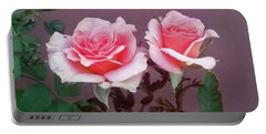 Twin Pink Roses Portable Battery Charger