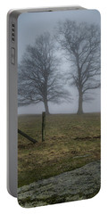 Twin Trees Late Fall Foggy Morning Portable Battery Charger