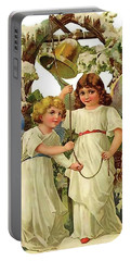 Two Angels Ringing Christmas Bell Portable Battery Charger