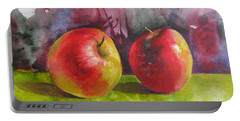 Portable Battery Charger featuring the painting Two Apples by Elena Oleniuc