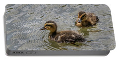 Portable Battery Charger featuring the photograph Two Baby Ducks by Ray Congrove