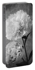 Two Beautiful Black And White Peonies Portable Battery Charger
