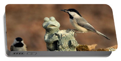 Two Black-capped Chickadees And Frog Portable Battery Charger