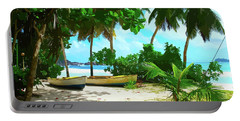 Two Boats On Tropical Beach Portable Battery Charger