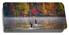 Two Canadian Geese Swimming In Autumn Portable Battery Charger