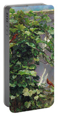 Two Cardinals On The Vine Tree Portable Battery Charger