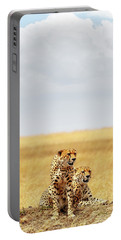 Two Cheetahs In Africa - Vertical With Copy Space Portable Battery Charger
