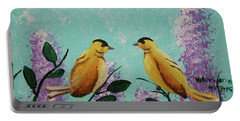 Two Chickadees Standing On Branches Portable Battery Charger