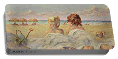 Two Children On The Beach Portable Battery Charger