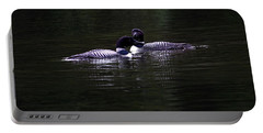 Two Common Loons At Sunset Portable Battery Charger
